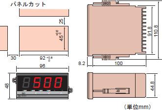 デジタル指示温度計 AE500 外形寸法